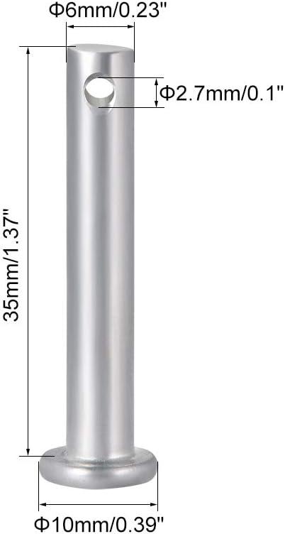 cabeza plana Clavijas de un solo agujero acero galvanizado 10 unidades 6 mm x 35 mm Sourcingmap
