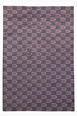 Checkered Pattern Nepalese Handmade Area Rug 8' X 10' Hand Knotted Nepali Carpet 8 Feet By 10 Feet Brown Color 100 Knot Wool Nepali Rug