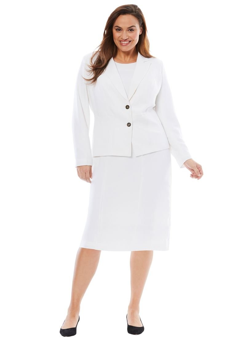 Jessica London Women's Plus Size Single Breasted Jacket Dress White,18 W