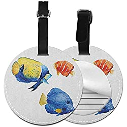 "Round luggage tag Fish Fashion match Tropical Aquarium Life Discus Fish and Goldfish in Different Patterns,Diameter3.7"" Azure Blue Yellow Scarlet"