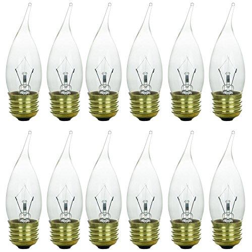Sunlite 25EFC/32/12PK Medium (E26) Base Flame Tip 25W Incandescent Chandelier Crystal Clear Bulb (12 Pack)