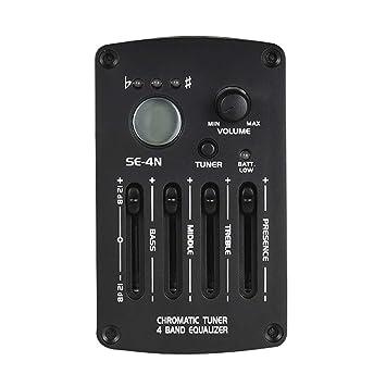Sguan-wu Guitarra acústica 4-Bandas Ecualizador Preamplificador Piezo para pickup amplificador de volumen SE-4N - Negro: Amazon.es: Instrumentos musicales
