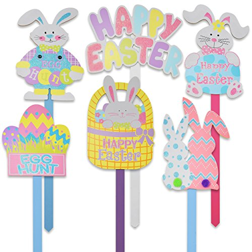- Gift Boutique Set of 6 Wooden Happy Easter Yard Stakes Spring Outdoor Garden Sign Banner Decorations Bunny & Egg Hunt for Home Sidewalk Lawn & Patio