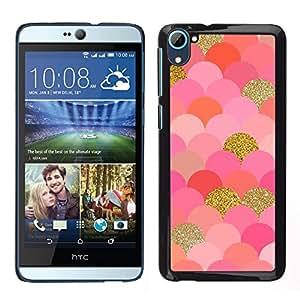 [Neutron-Star] Snap-on Series Teléfono Carcasa Funda Case Caso para HTC Desire D826 [Scales Pattern Gold Pink Glitter Bling]