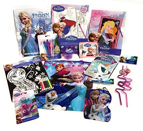 Super-Saver Disney Bundles- Toys, Fun & Art- makes great Gift or Travel/Rainy Day Busy Kits! Choice of Mickey, Minnie, Frozen, Princesses, Toy Story, Marvel & Star Wars! (12-Piece, Frozen)
