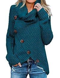 Womens Button Turtle Cowl Neck Asymmetric Hem Wrap Pullover Sweater Tops