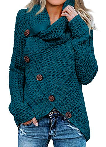 Asvivid Womens Cozy Turtleneck Cowl Neck Long Sleeve Sweater Winter Warm Button Asymmetrical Wrap Sweater Pullover Tops M Blue