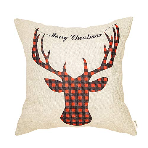 Fahrendom Merry Christmas Sign Red and Black Buffalo Checker Plaid Deer Head Winter Cotton Linen Home Decorative Throw Pillow Case Cushion Cover with Words for Sofa Couch 18 x 18 in (Home Decor Reindeer)