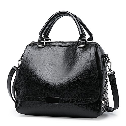 Moda Capacidad De Satchel Gran Bolso Boston Negro Black Moda Bolso Meaeo fZz5xn7