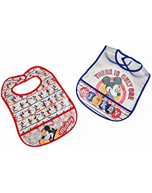 Disney Mickey Mouse 2 Piece Printed Frosted Water Proof Peva Bib, Crumb Catcher Pocket