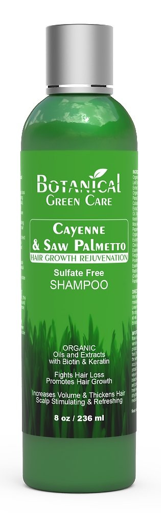 "Hair Growth / Anti-Hair Loss Premium Organic Sulfate-Free Shampoo ""Cayenne & Saw Palmetto"" Natural Therapy and Alopecia Prevention."