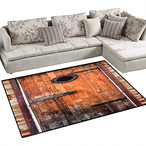 - Rustic Door Mats for Inside Photograph of Antique Knotted Pine Wood with Control Window Lumber Nature Design Bath Mat for Bathroom Mat 4'x6' Caramel Brown