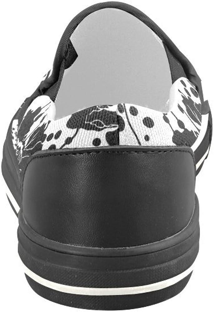 Rose Pattern Black and White Canvas Slip-on Loafer for Men