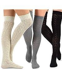 TeeHee Women's Fashion Over the Knee High Socks - 3 Pair Combo