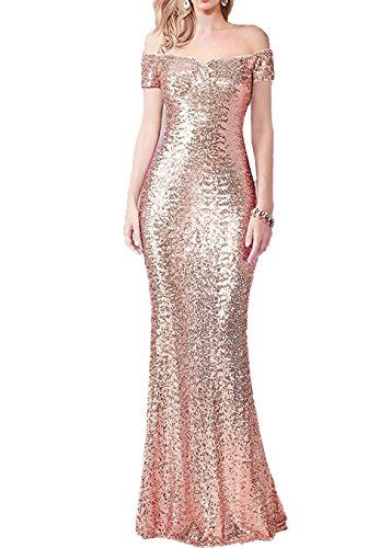 Bride Long Sequined Dress - Honey Qiao Women's Sequined Mermaid Bridesmaid Dresses Long Off The Shoulder Prom Evening Gowns