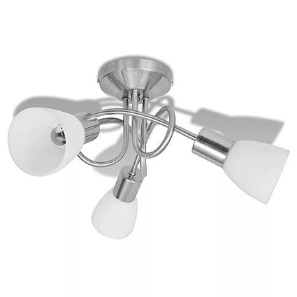vidaXL Lámpara de Techo Moderna E14 con 3 Tulipas Metal Cristal Gris y Blanca