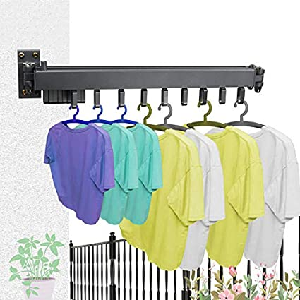 Bathroom and Bedroom Collapsible and Retractable Laundry Drying Rack Space Saver Hangers,Easy to Install Laundry Watkings Wall Mounted Clothes Drying Rack Clothes Drying Rack for Balcony