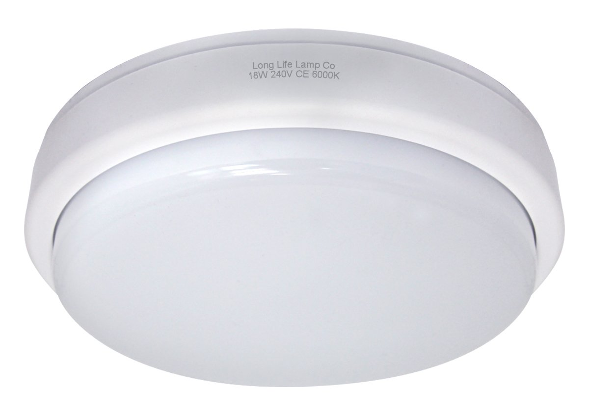 18w High Brightness Round LED Flush Mount Ceiling Light 6500k 1440 Lumens Ideal For Bathrooms Bedrooms Loftroom Storeroom [Energy Class A+] Long Life Lamp Company FLM18WCL-BH