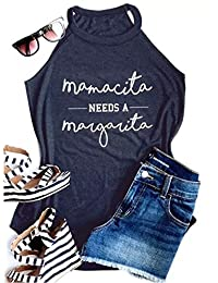 NANYUAYA Women Mamacita Mama Needs A Margarita Spaghetti Strap Vest Racerback Tank