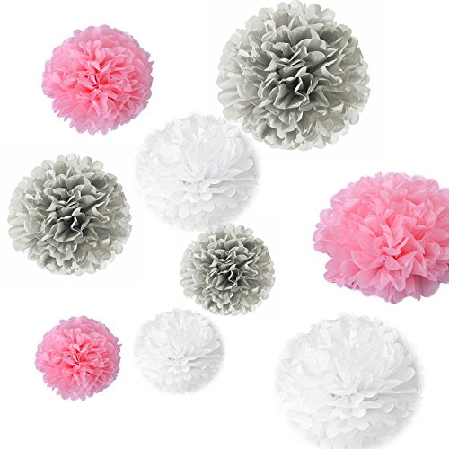 Generic Set Of 18PCS Mixed Size White Pink Grey Party Tissue Pom Poms  Wedding Birthday Party Baby Room Nursery Decoration