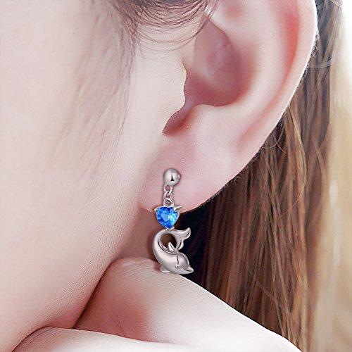 LINLIN FINE JEWELRY 925 Sterling Silver Cubic Zirconia Blue Cz Heart Dolphin Stud Earrings for Women by LINLIN FINE JEWELRY (Image #1)