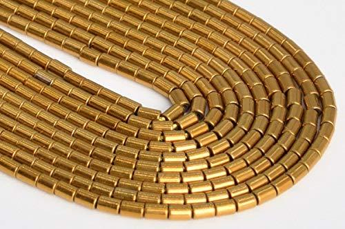 - Jewelry Making Supplies 2x1MM Gold Hematite Round Tube Grade AAA Natural Gemstone Loose Beads 15.5