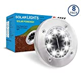SUNNORS Solar Powered Ground Lights,8 LED Solar Path Lights Outdoor Waterproof Garden Landscape Spike Lighting for Yard Patio Walkway Driveway In Ground Underground Buried Light (White 8 PACK)