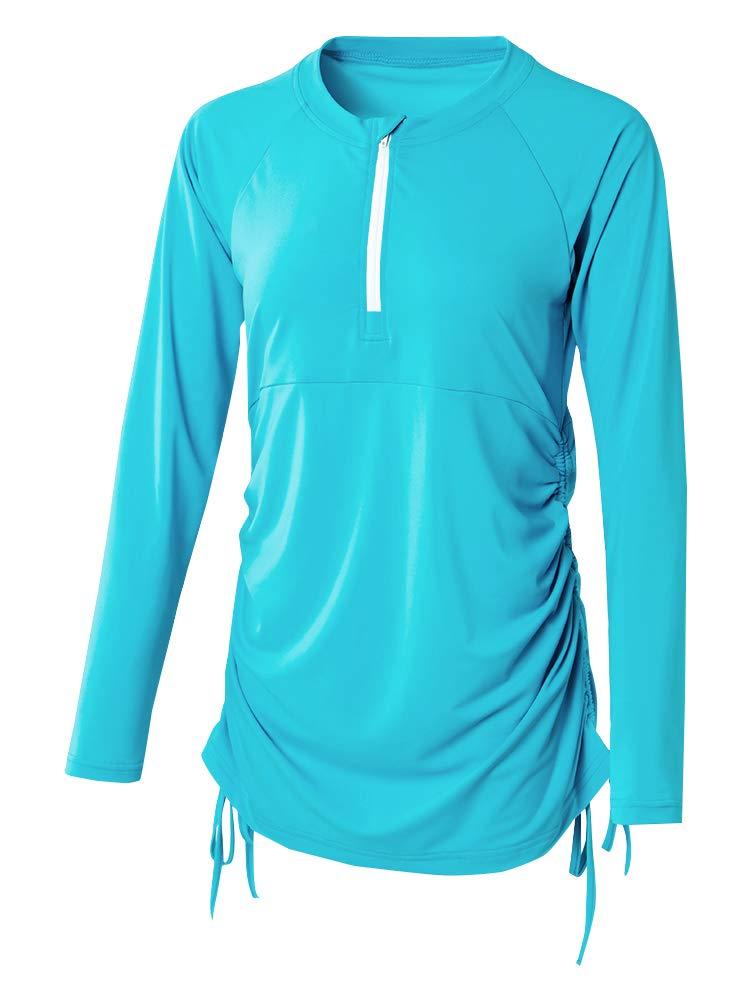 Womens UV Sun Protection Long Sleeve Rash Guard Wetsuit Swimsuit Top