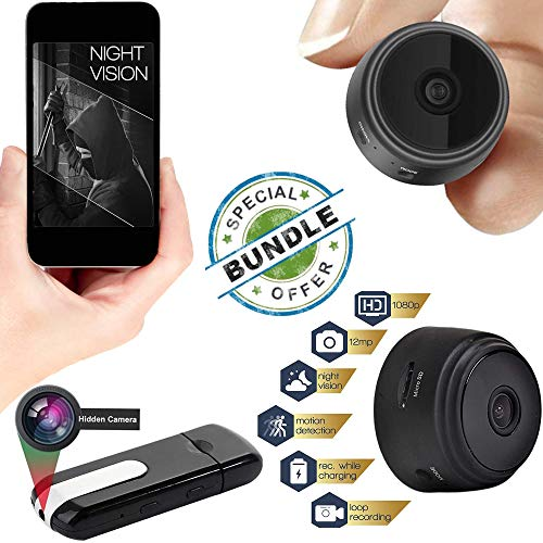 JCT Mini Hidden Camera-Wireless Hidden Home WiFi Security Cameras -USB Camera Bundle Wireless Camera- with App 1080P Night Vision Motion Sensor & Case Motion Activated Indoor Outdoor Small (Best Outdoor Wireless Web Camera)