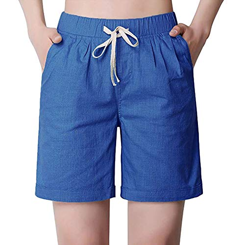 Women's Summer Modest Loose Elastic Waisted Bermuda Drawstring Casual Shorts Blue Tag 4XL-US 12 ()