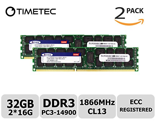 Timetec SUPERMICRO 32GB Kit (2x16GB) DDR3 1866MHz PC3-14900 Registered ECC 1.5V CL13 2Rx4 Dual Rank 240 Pin RDIMM Server Memory RAM Module Upgrade (32GB Kit (2x16GB)) -