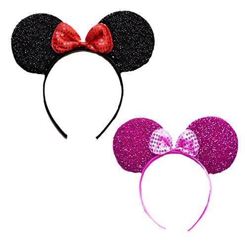 gofordance Mini Mouse Headband w/Ribbon Bow - 2 Pcs Assorted Color Set (Blk-fu) -