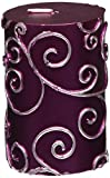 Zest Candle Pillar Candle, 3 by 4-Inch, Purple Scroll