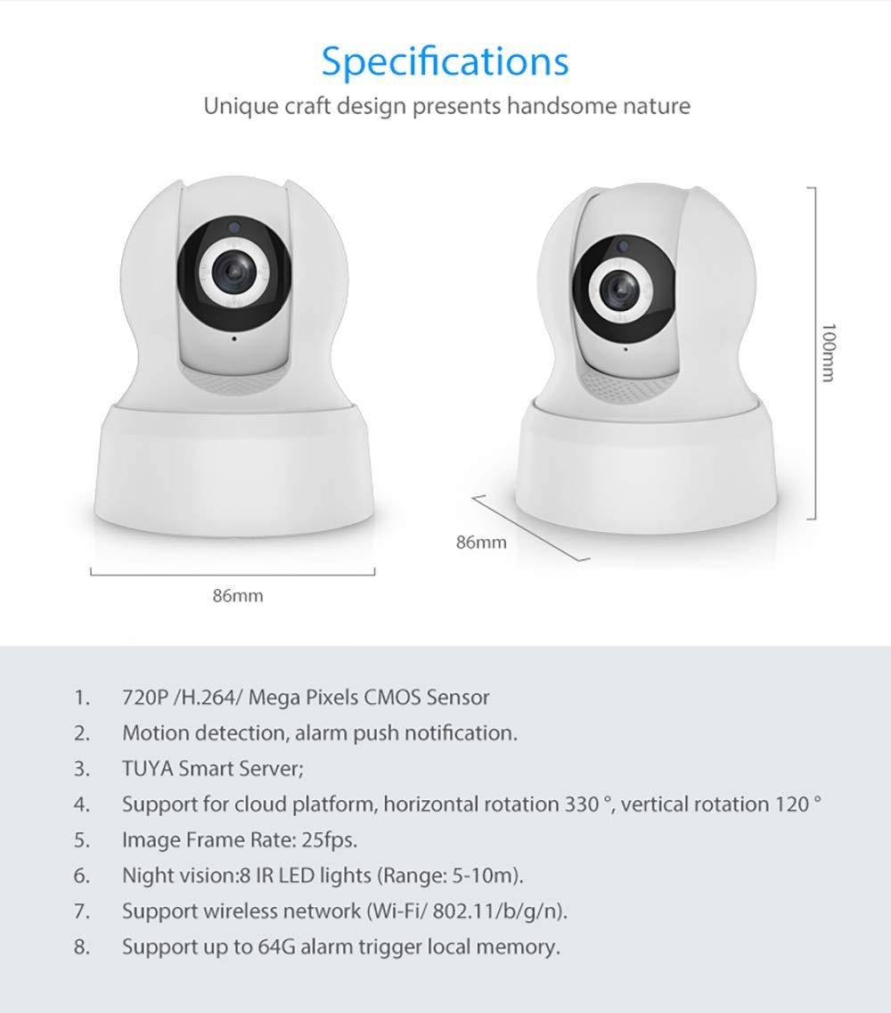 LIGHTOP Cámaras de Vigilancia WiFi Inalámbrica Cámara IP 1280P Full HD, Visión Nocturna Detección de Movimiento Seguridad con Sistema de Vigilancia para el ...
