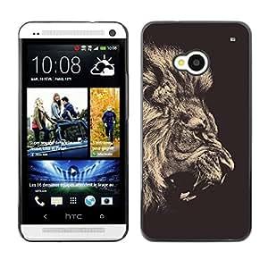 LECELL -- Funda protectora / Cubierta / Piel For HTC One M7 -- Fierce Lion Roar Majestic --