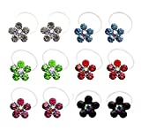 L'vow Elastic String Adjustable Invisible Crystal Toe Rings Mixed Color Flower Shape Pack of 12(Colorful)