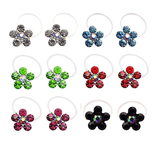 - L'vow Elastic String Adjustable Invisible Crystal Toe Rings Mixed Color Flower Shape Pack of 12(Colorful)