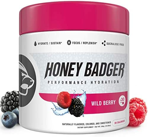 Honey Badger Vegan Hydration Post Workout Wild Berry Natural Caffeine Free Plant-Based Electrolytes Supplement Nootropics Sucralose Free Alpha-GPC AlphaSize Beets 30 Servings