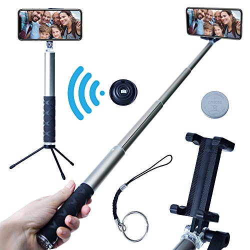 Grimolo Bluetooth Selfie Stick Tripod with Remote – Compatible with iPhone 6, 6s and 7 plus Android Samsung Galaxy S7, S8, Plus Edge –Compact,Extendable Aluminum Monopod for Photo and Video Use - Gray