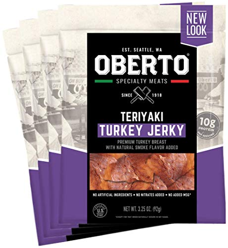 Oberto Specialty Meats Teriyaki Turkey Jerky, 3.25 Ounce (Pack of 4)
