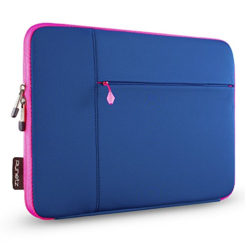 Runetz MacBook 12 Inch Sleeve Neoprene Case with accessory pocket for The New MacBook 12″ with Retina Display and Laptop 12″ – Navy Blue-Pink
