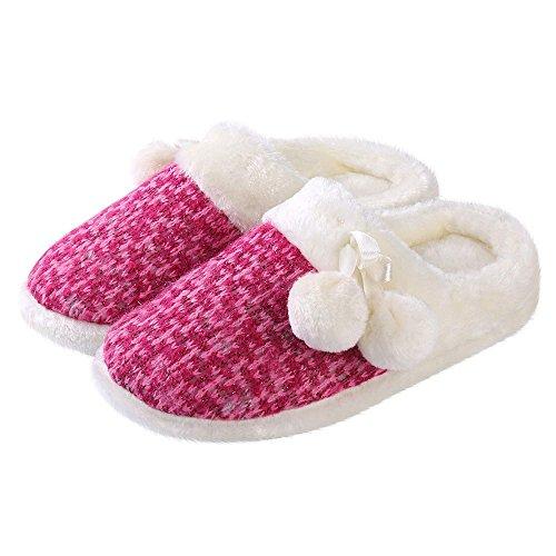 Aerusi Femmes Pom Pom Weave Tricot Chambre À Coucher Intérieur Confortable Maison Maison Slip Sur Des Chaussures Édition Spéciale Magenta Rose