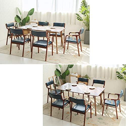 Silla de Cocina Sillas de Comedor de Madera Retro Pasamanos Respaldo Tapizado Aceite Cera Impermeable Café Fuerte y Duradero Salón (46 × 62 × 83 cm) Azul