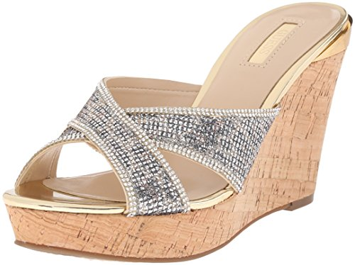 Guess Womens Eleonora4 Leather Open Toe Special Occasion Platform Sandals Natural