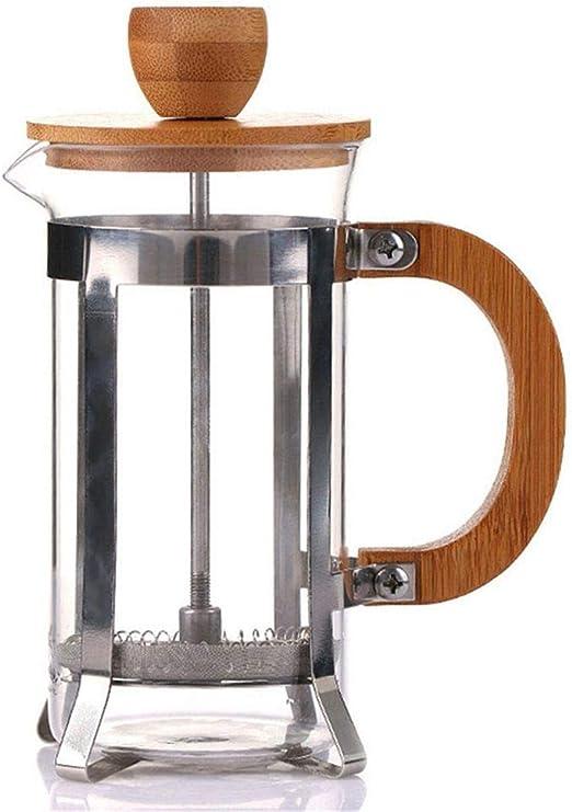 Tapa de bambú Émbolo de café Tetera Percolator Filtro prensa ...
