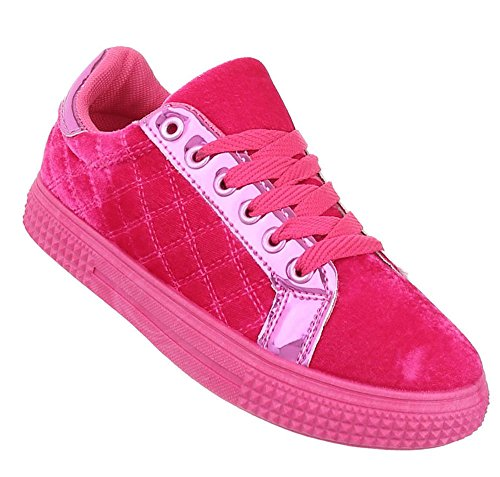 Damen Sneakers Muster | Plateau Sneaker Low | Schnürschuhe Stern | Turnschuhe modern | Sportschuhe Freizeit | Plateauschuhe Stern | Schnürer Stoffschuhe | Schuhcity24 Pink