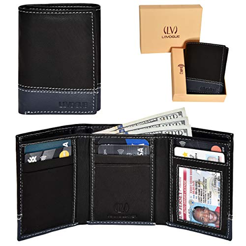 - Genuine Leather RFID Blocking Slim Trifold Wallet for Men with 7 Cards+1 ID Window+2 Note Compartments (Blk/Blue Nappa)