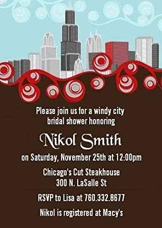amazoncom chicago skyline bridal shower invitations health personal care