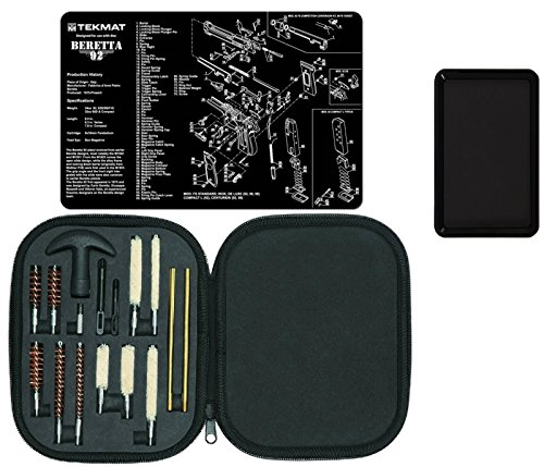 Ultimate Arms Gear Gunsmith Gun Mat Beretta 92 & M9 + Professional Cleaning Tube Chamber Barrel Care Pistol Cleaning Kit in Carry Case for .22/.357/.38/9mm/.44/.45 Tools + Magnetic Tray - Beretta M9 9 Mm