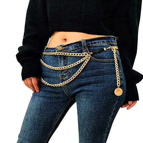 (Women's Golden Waist Belt for Jeans Dresses Adjustable Body Harness Wallet Chain Long Tassel Waistbands(001Golden))